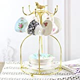DELISI Gold-plated Coffee Tea Cups Mug Holder Plate Dish Rack Organizer with Gold-plated Bird Ornament