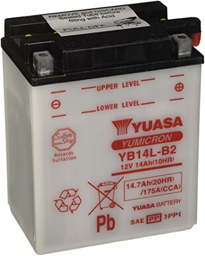 YUASA Batterij YB14L-B2 open – zuurvrij