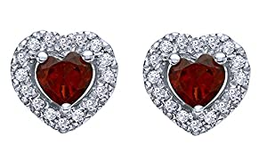 Heart Shape Garnet January Birthstone & White Natural Diamond Frame Stud Earrings 14K White Gold Over Sterling Silver (0.14 Cttw)