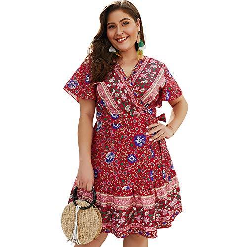 HOOYON Women's Bohemian Plus Size Floral Printed Wrap