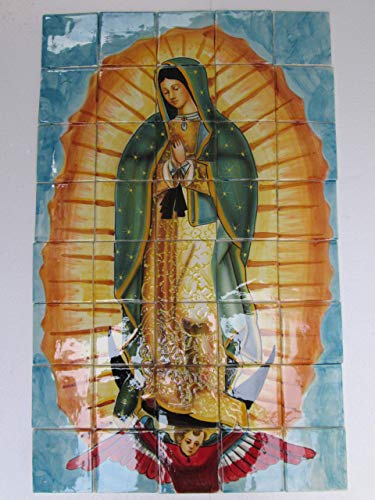 (TALAVERA MOSAIC MURAL tile backsplash, Our lady of Guadalupe painting)