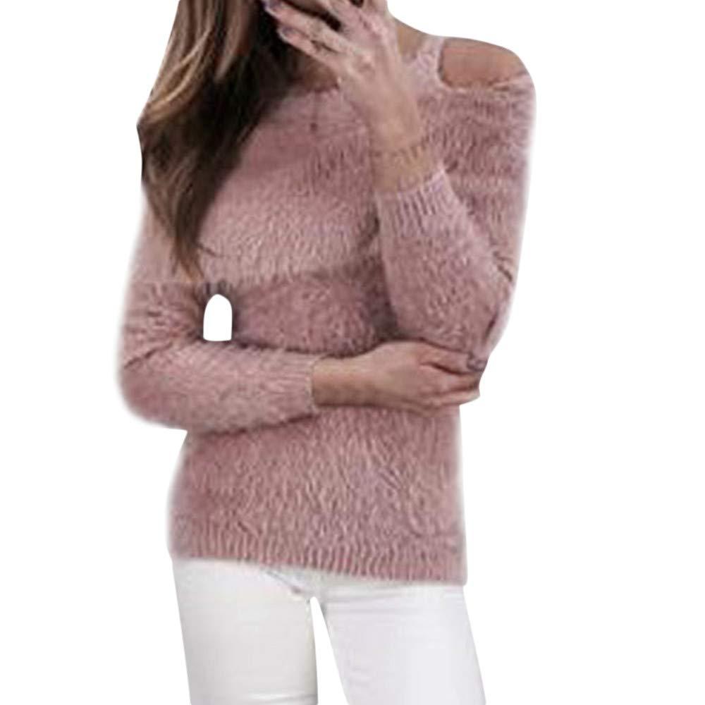 Damen Fleecemantel Faux Schulterfrei Oberteile MYMYG Schal Plü sch Pullover Locker Langarm T-Shirt Warm Faux Fur Loose Fit Top MYMYG-31058WOMEN