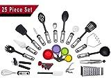 Kitchen Utensils Set 25 Piece | Home Cooking Tools & Gadgets | Nonstick For Pots & Pans | Stainless Steel & Nylon | Utensil Set For Men & Women