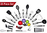 25-Piece Cooking Utensils Set, Kitchen Utensil Tools & Gadgets, Stainless ...