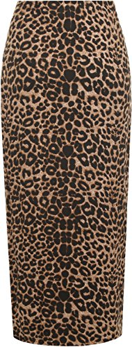 56 Brun Tailles Jupe longue WearAll Animaux 42 Jupe Femme Femmes pois tendue Leopard zP7xw