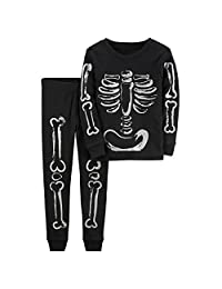 Gold treasure Little Kids Sleepwear Halloween Pajama Set with Cartoon Skeleton Bone