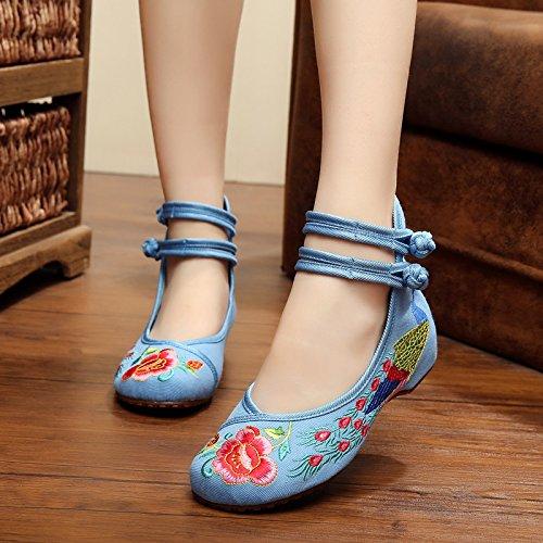 Planos flower Mujer blue NGRDX Chino Calzado Peacock Casual amp;G Zapatos Bordadas De Mujer Zapatos Retro 5qIwWBIC6