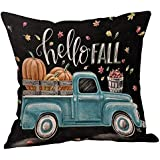 Halloween Decorations Pillows Case Pumpkin on Truck Pillowcases Thanksgiving Cushion Cover with Zipper 18 x 18 inch (12)