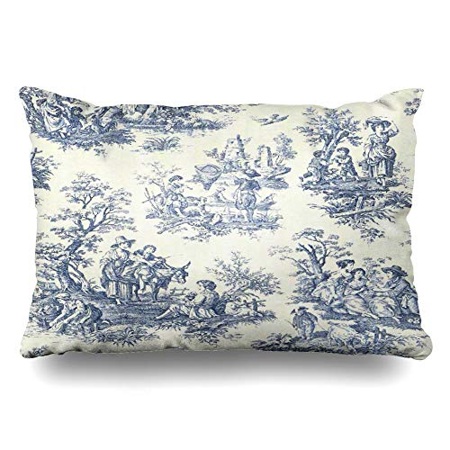 InnoDIY Throw Pillow Covers Blue Vintage Toile Pillowslip Queen Size 20