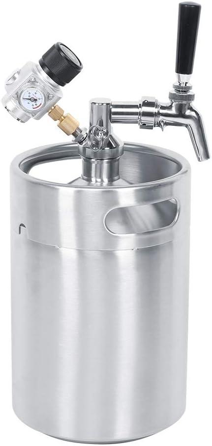 Mini barril de cerveza 5L Sistema presurizado Kit de grifo de cerveza de acero inoxidable Regulador de presión de CO2 Mantiene la carbonatación para cerveza artesanal y Homebrew
