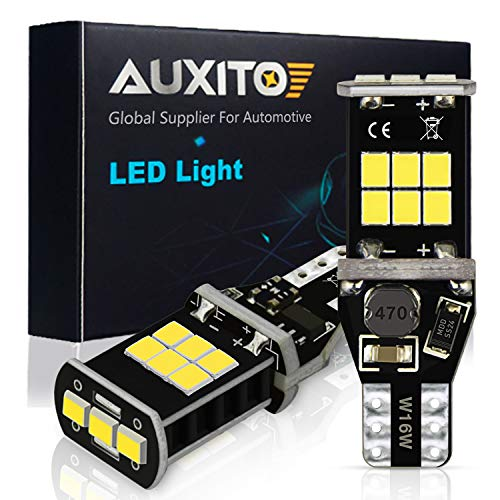AUXITO 912 921 LED Backup Light Bulbs High Power 2835 15-SMD Chipsets Extremely Bright Error Free T15 906 W16W for Back Up Lights Reverse Lights, 6000K White (Upgraded,Pack of 2) ()