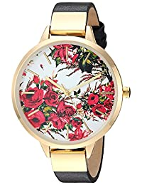 Nine West - Reloj de pulsera para mujer, color dorado, Negro/Dorado