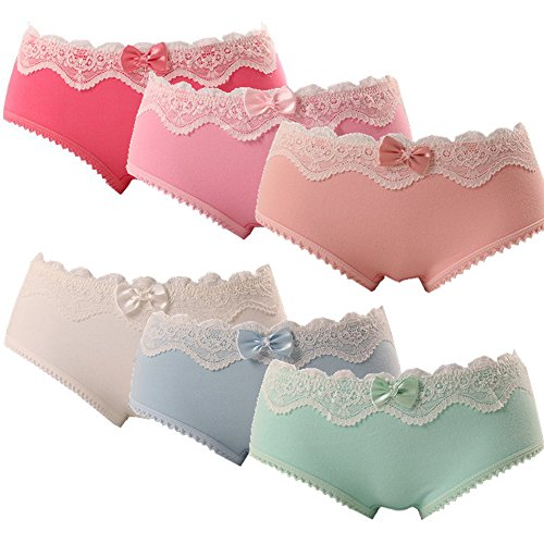 OULU Womens/Teen Girls Cotton Brief Underwear Candy Color Lingerie Panty Panties Set,6 Pack Underwear Nr.a-3,One Size for 12-16 years old Girls