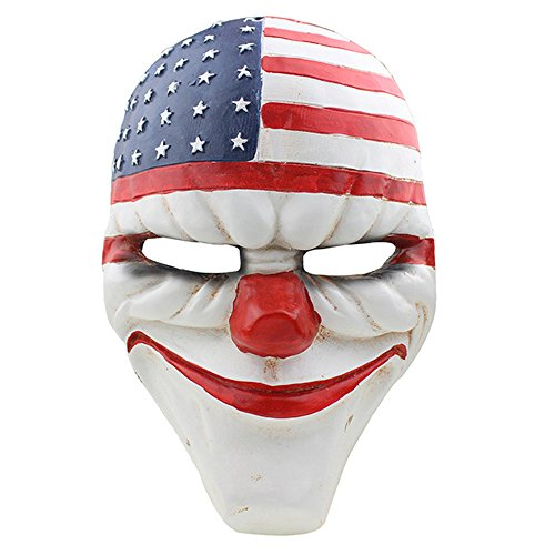 CCOWAY Halloween, Payday 2 Theme Game Horror Cosplay Party Mask For Fencing, Wargame, Costume Play and -