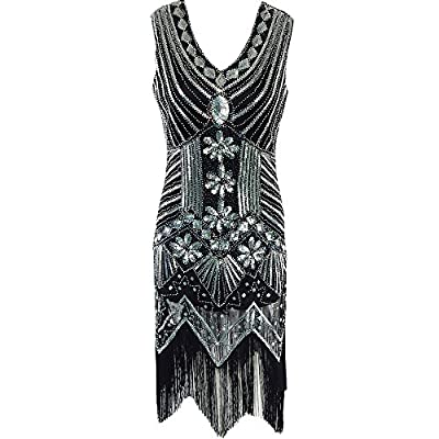 1920s Dress Great Gatsby Sequin Dress Art Nouveau Embellished Fringed Flapper Evening Prom