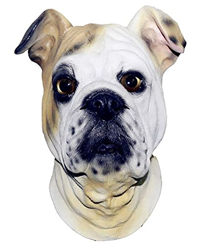 Latex Animal Dog Head Mask, Party Costumes Fancy Dress up Carnival Mask Full Head Animal Popular Cosplay (Bull Dog)