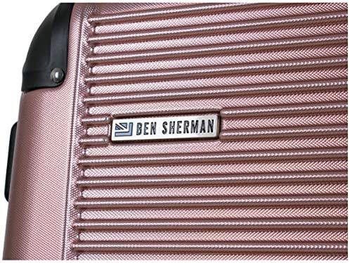 Ben Sherman Norwich Collection Lightweight Hardside PET Expandable 8-Wheel Spinner Luggage, Rose Gold, 24-Inch Checked