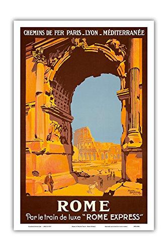 Rome, Italy - by Deluxe Train - Rome Express - Chemins de fer de  Paris-Lyon-Méditerranée Railway - Vintage Railroad Travel Poster by Roger  Broders