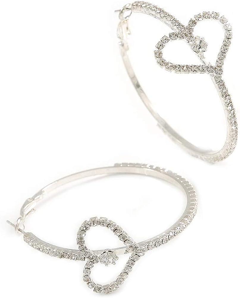 Rodio plateado transparente cristal,'con forma de corazón', pendientes de aro