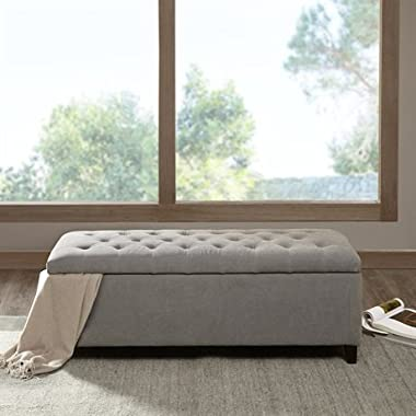 Madison Park Shandra Tufted Top Storage Bench Grey See below