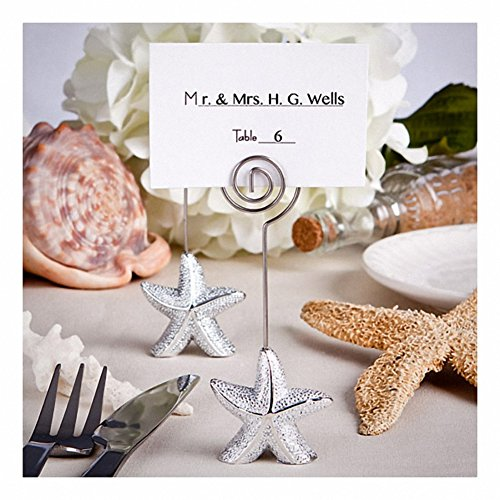 Shimmering Starfish Design Place Card Holder, Table Number Holder or Buffet Food Marker (Set of 6)
