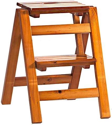 Escalera plegable 2 pasos / 3 Pasos de madera sólida plegable escaleras de tijera, tijera plegable heces/almacenamiento en rack con mango/imagen Estante de libro for niños multifunción 1yess: Amazon.es: Coche y moto