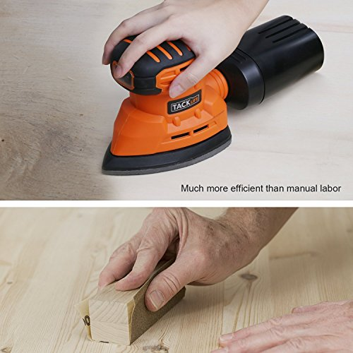 Mouse Detail Sander with 12Pcs Sanderpaper, Tacklife 12000 OPM Sander with Dust Collection System for Tight Spaces Sanding in Home Decoration, DIY - PMS01A by TACKLIFE (Image #4)
