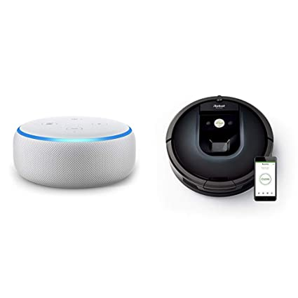 Echo Dot gris claro + iRobot Roomba 981 - Robot aspirador para alfombras, potencia de