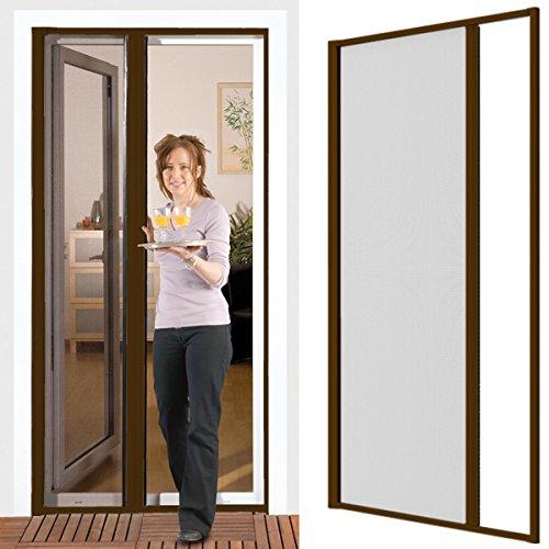 Insektenschutzrollo für Türen 125 x 220 cm mit Alurahmen in braun - kürzbar, Montage ohne Bohren