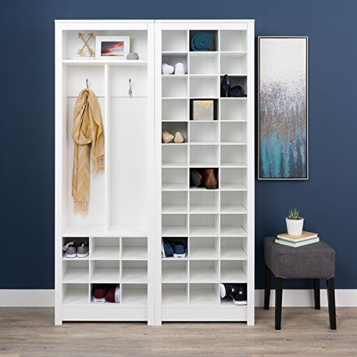 Prepac Winslow Laminate White Space-saving Shoe Storage Cabinet