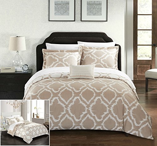 Chic Home 4 Piece Juniper Reversible two-tone Ikat diamond geometric pattern print technique Queen Duvet Cover Set (Gold Reversible Comforter)