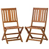 Eucalyptus Wood Folding Chairs DTY Outdoor Living Armless Folding Chair Set of 2 - Outdoor Living Eucalyptus Patio Furniture Dining Collection- Flash Sale!!
