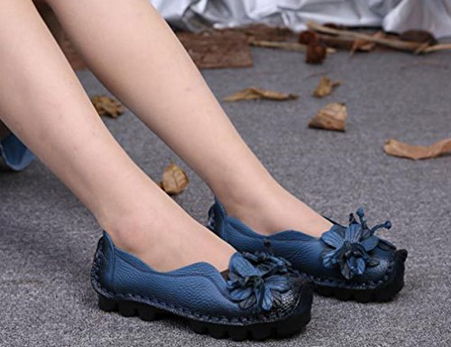 Slip On with Flower Blue Women's Loafer Casual Flats 1 Leather Soojun Style Shoes wxnFTqYXwA