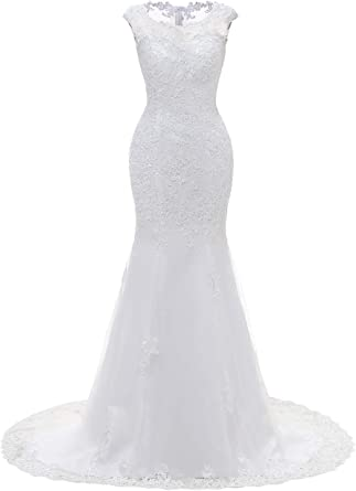 Amazon Com Wedding Dress For Bride Lace Bridal Dress Mermaid Bride Dresses With Long Train Clothing