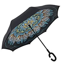Inverted Umbrella by Everestor, Double Layer UV Protection Windproof Inside-Out Folding Umbrella for Car Rain Sun
