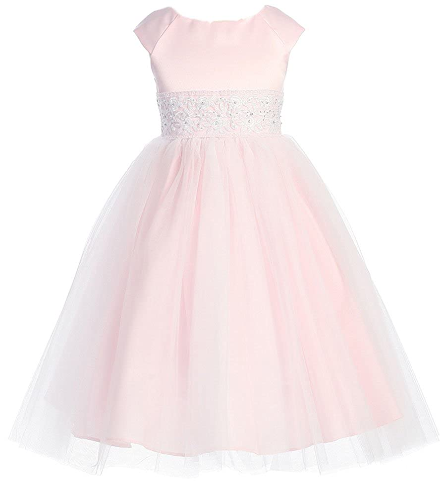 5b59ed8b79 Amazon.com: Kids Collection Girl's Satin Bodice Pearl Accented Flower Girl  Dress: Special Occasion Dresses: Clothing
