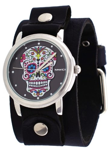 Nemesis #GB925K Women's Rock Collection Sugar Skull Black Wide Leather Cuff Band ()