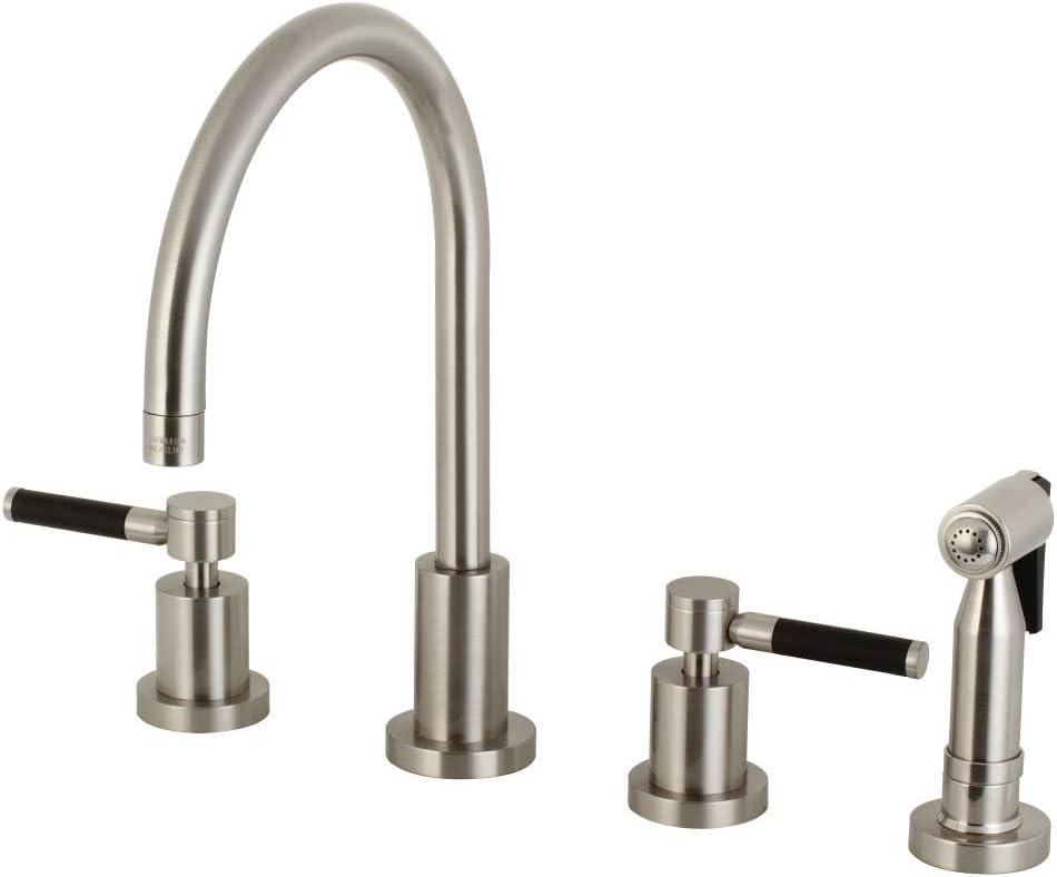 Kingston Brass Ks8728dklbs Kaiser 8 Inch Widespread Kitchen Faucet With Brass Sprayer Brushed Nickel Amazon Com