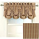 Stylemaster Burgundy Gingham Fleetwood Tucked Window Valance