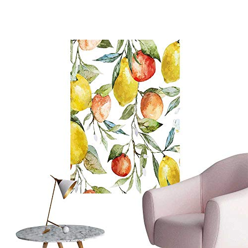"Wall Painting and Orange Clementine Tree Branches Fruit Yummy Winter Season Vitamin Design High-Definition Design,20""W x 32""L"