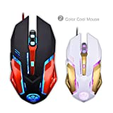 TNI Multi Colors LED Gaming Mouse with 6 Buttons USB Wired 3200 DPI Tournament Grade for PC or Mac (Red/Black)