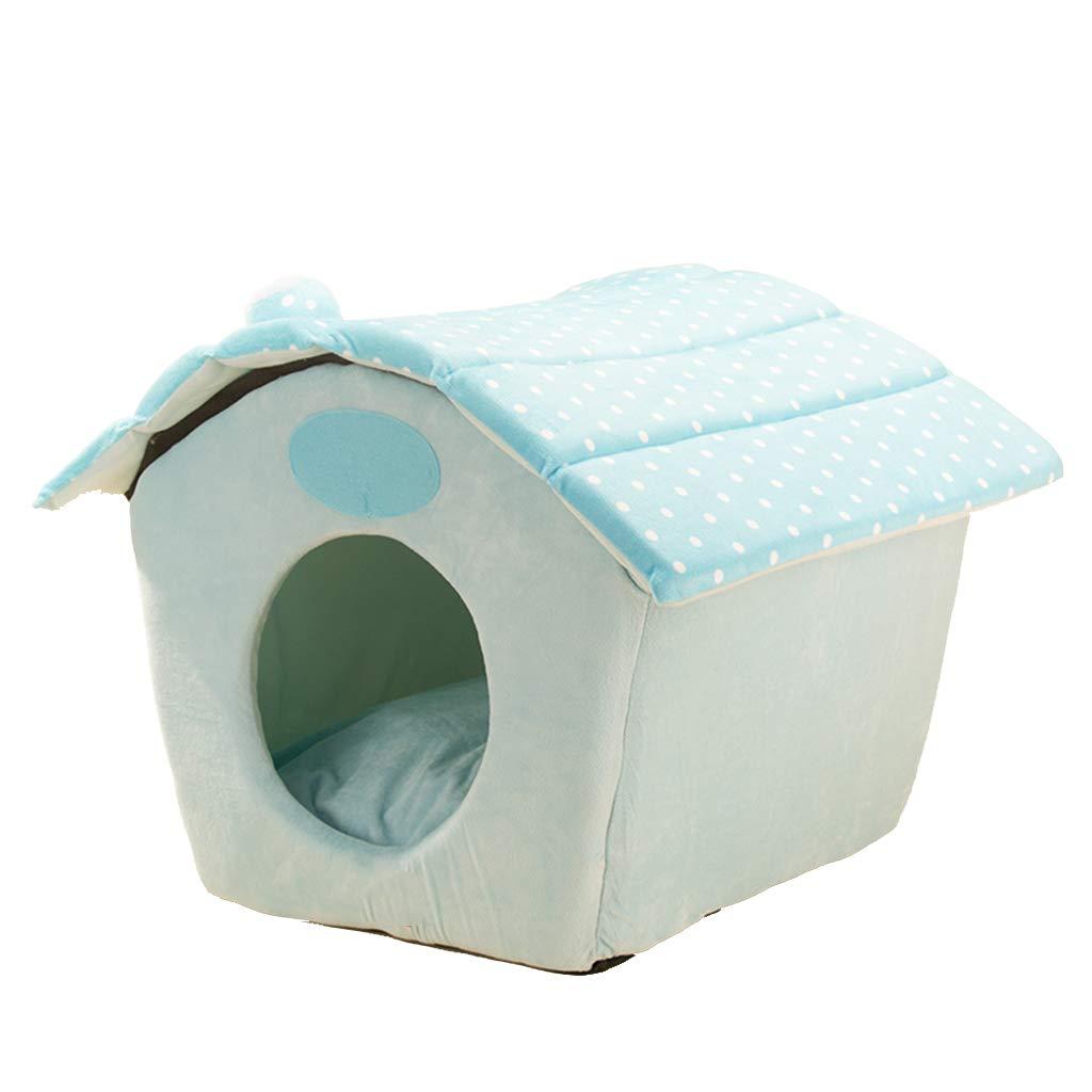 Case per cani al coperto canile Rimovibile e lavabile quattro stagioni universale Pet Waterloo Piccolo cane letto Mat inverno canile ( colore   Blu , dimensioni   S. )