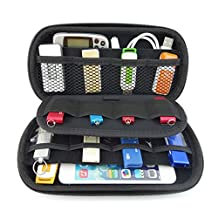 Waterproof Shockproof EVA Carrying Case Electronic Accessories Organizer Holder Travel Storage Pouch Bag for Hard Drive, Power Bank, USB Cable, Earphone, USB Flash Drive, SD, Credit Bank Card (Blue)