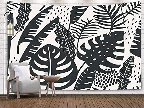 Pamime Christmas Wall Tapestry,Home Decor Tapestry Abstract Pattern Tropical Leaves Draw Ure Template Dorm Room Bedroom Living Room 60X50 Inches(150X130Cm) Bedspread Inhouse,Multi Black
