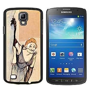KLONGSHOP // Cubierta de piel con cierre a presión Shell trasero duro de goma Protección Caso - Fumar Vieja Vestido divertido - Samsung Galaxy S4 Active i9295 //