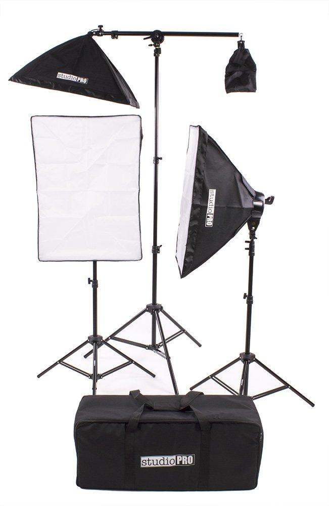 Fovitec StudioPRO Photography Photo Video Studio Continuous Two 5 Socket Heads 24''x36'' Softbox With One EZ Setup 20''x28'' Soft box Boom Arm 2500 Watt Lighting Kit by FOVITEC
