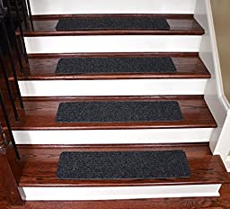 Dean Carpet Stair Treads/Runners/Mats/Step Covers - Dark Grey Ribbed 24\