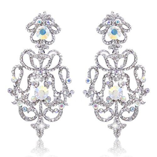 EVER FAITH Austrian Crystal Art Deco Flower Chandelier Dangle Earrings Iridescent Clear AB Silver-Tone ()