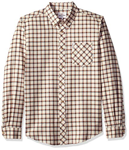 Ben Sherman Men's Reverse Twill Check Shirt, Beige, Small