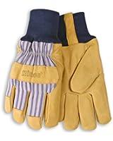 Lined Premium Grain Pigskin Leather Palm Gloves - Knit Wrist